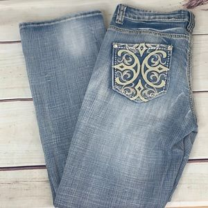 COWGIRL UP Light Washed Boot Cut Blue Jeans